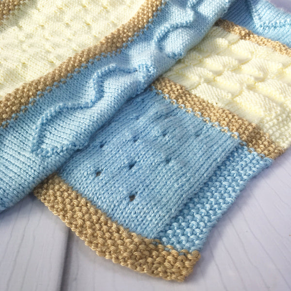 Luxurious handknitted heart motif baby blanket, blue, cream, fawn, heart, large size, Knitted - Sparkly Pretty Things