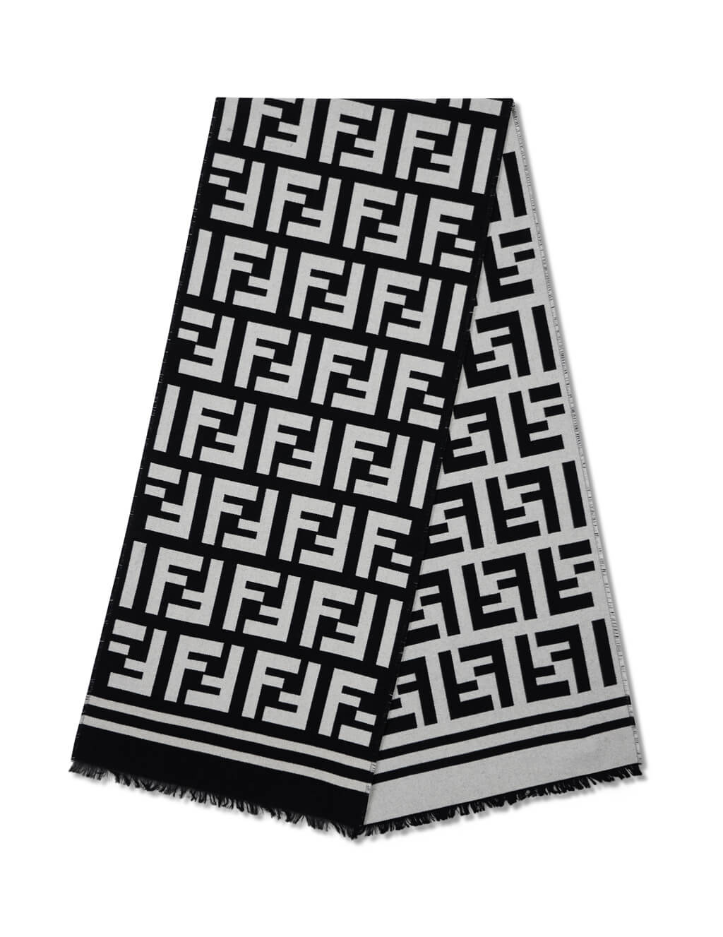 Fendi Men's Giulio Fashion Black FF Knit Scarf FXS424A3Q1F0QA1
