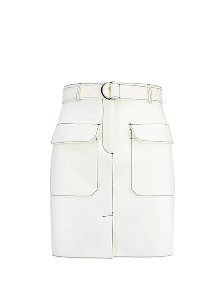 MSGM Women's Off White Contrast Stitching Skirt 2741MDD01I19560002