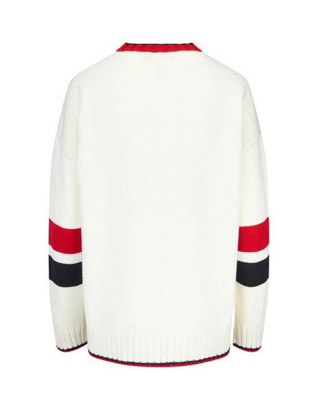 MSGM Women's Off-White Intarsia Initial Sweater 2741mdm11719576702