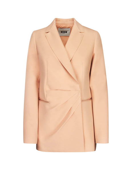 MSGM Women's Powder Pink Double-Breasted Jacket 2741MDG0119560011