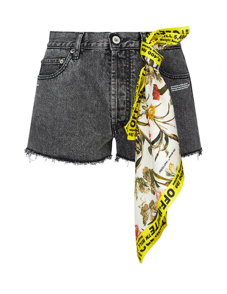 Off-White Women's Grey Denim Shorts with Detachable Scarf OWYC002E197740777500