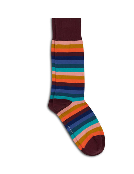 Paul Smith Men's Burgundy Cotton-Blend Simba Stripe Socks M1A380Aak97228