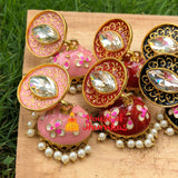 Oval Stone handpainted Jhumkas (8 Colors)