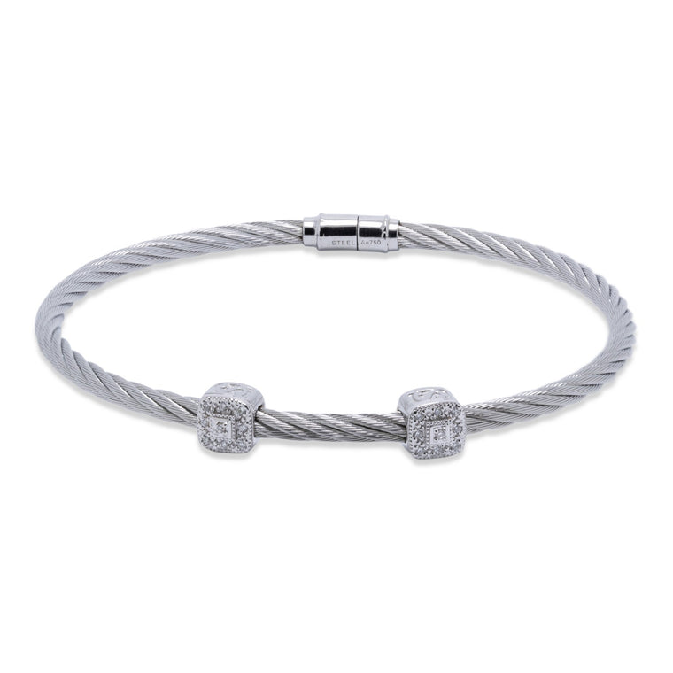 Charriol Two Station Diamond Cable Bracelet Bracelets Charriol
