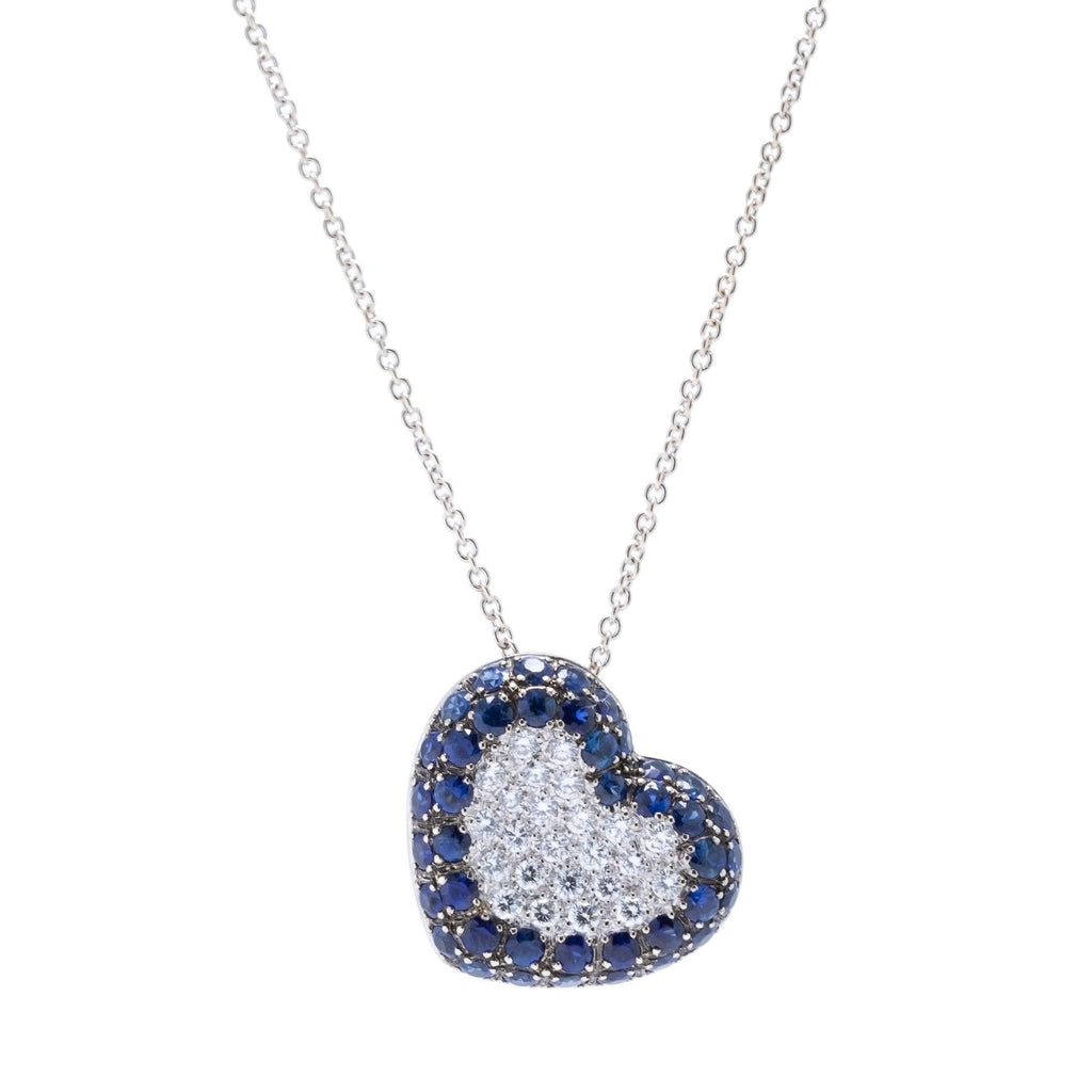 Blue Sapphire and Diamond Heart Pendant Necklace Necklaces Miscellaneous