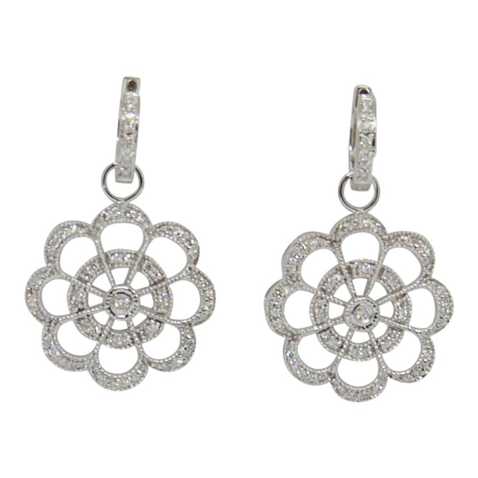 Diamond Flower Earrings Earrings Miscellaneous