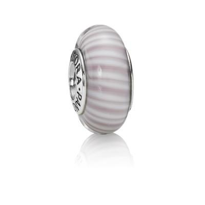 Pandora Lavender Candy Stripes Murano Glass Charm Charms & Pendants Pandora