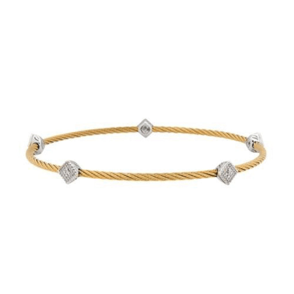 Charriol Classique Diamond Square Station Cable Bangle Bracelets Charriol