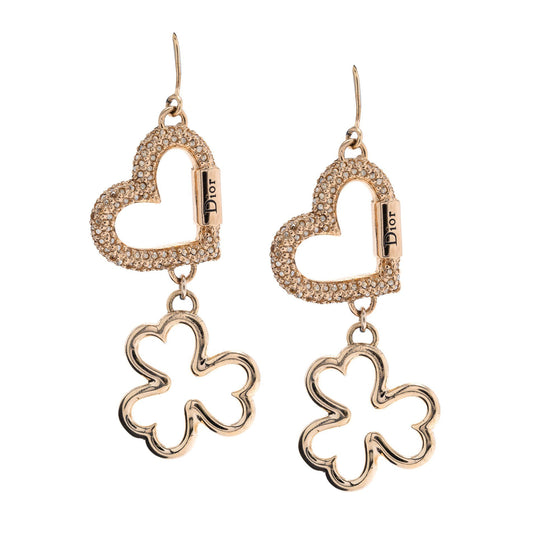 Christian Dior Crystal Heart Clover Earrings Earrings Dior