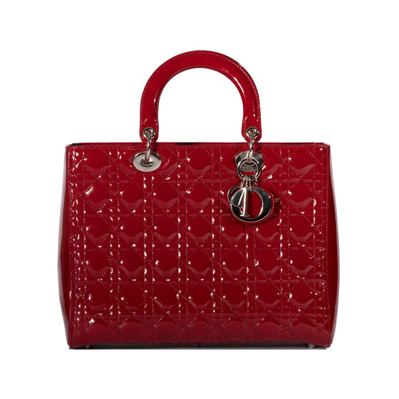 Christian Dior Large Red Leather Lady Dior Bag Bags Dior