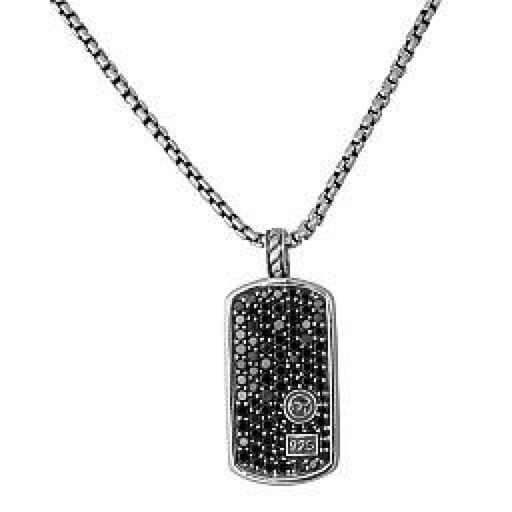 David Yurman Pave Black Diamond Dog Tag Pendant Necklace Necklaces David Yurman
