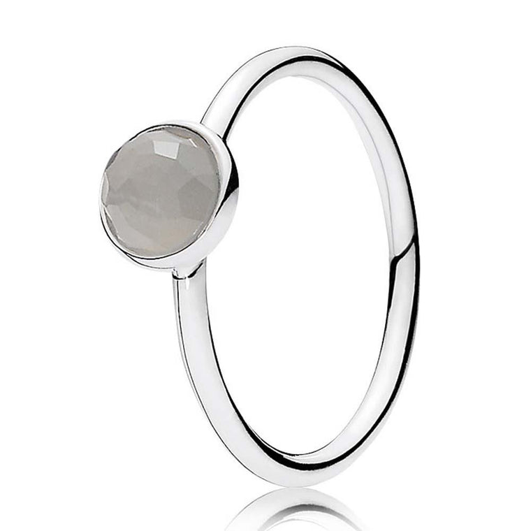 Pandora June Droplet Ring with Grey Moonstone, Size 6 Rings Pandora