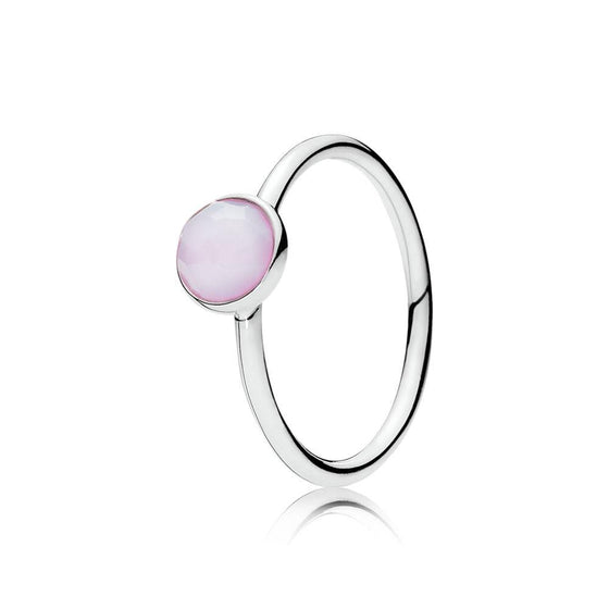 Pandora October Droplet Ring with Opalescent Pink Crystal, Size 6 Rings Pandora