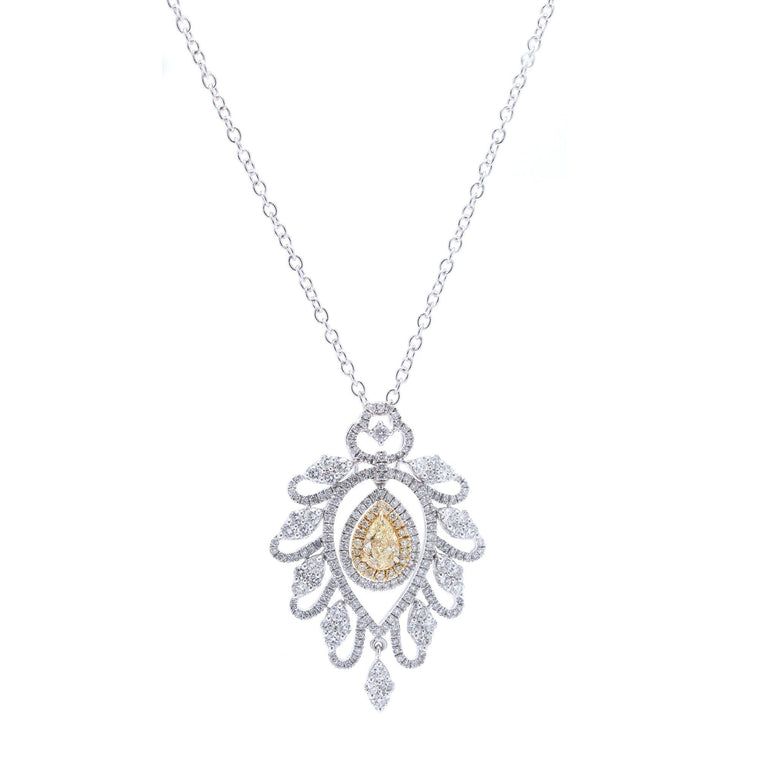 Yellow & White Diamond Pendant Necklace Necklaces Miscellaneous