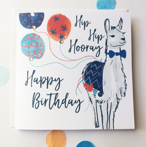 Katie Phythian Llama Happy Birthday Card, with a Llama dressed up in a bow tie and Balloons. With the Words Hip Hip Hooray Birthday Card for him, male, man. luxury stationery greeting card, special, unique, cute, animal, fun, alpaca. Fast delivery, next day.