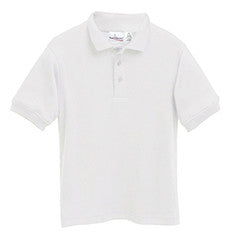 "STS Unisex White S/S Interlock ""STS"" Oval Embroidered Polo with Ribbed Cuff"