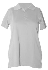 "STS Feminie Fit White S/S Interlock ""STS"" Oval Embroidered Polo with Ribbed Cuff"