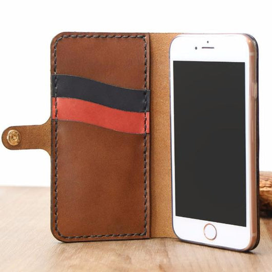 iPhone 6s Plus Case Genuine Leather Hard Back Case Slim Fit Protective Cover Snap on Case for iPhone 6 Plus/ 6s Plus [Black]