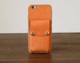 iPhone 6s Plus Case Genuine Leather Hard Back Case Slim Fit Protective Cover Snap on Case for iPhone 6 Plus/ 6s Plus [Orange]