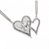 HEART TO HEART Crystal Rhinestone Necklace and Earring Set in Silver