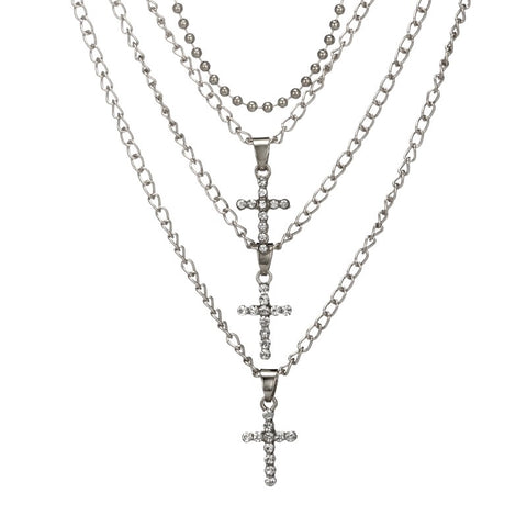 TRIPLE THREAT Rhinestone Cross Multilayer Pendant Necklace in Silver
