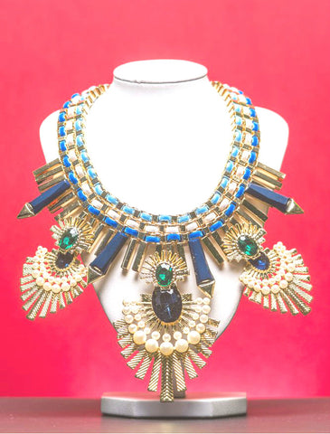 JE209  Divine blue and green necklace with pearls
