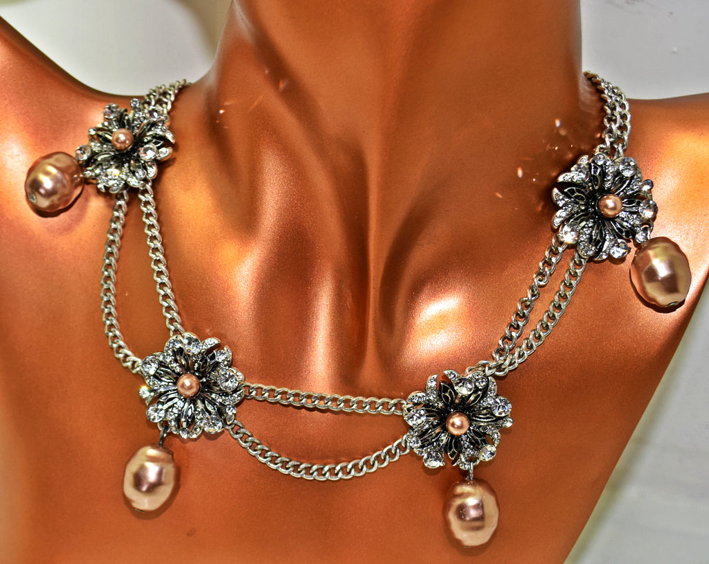 JE217 Double chain crystal flower and copper colour pearl collar necklace