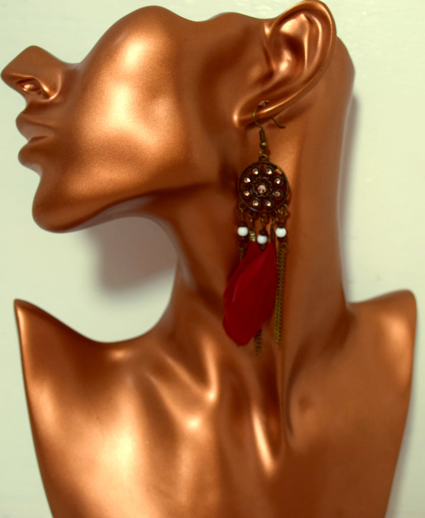 ER101R Elegant Faux Feathers Deep Red Earrings