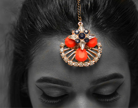HB7 Indian style forehead crystal hair clip chain