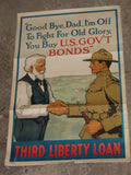 WWI WW1 US Poster 3rd Liberty Loan Soldier Good Bye Dad Vintage Laurence Harris