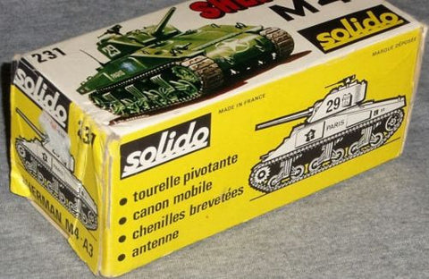 RARE 1972 Solido WWII M4A3 Sherman Tank French Army Markings Boxed FREESHIP