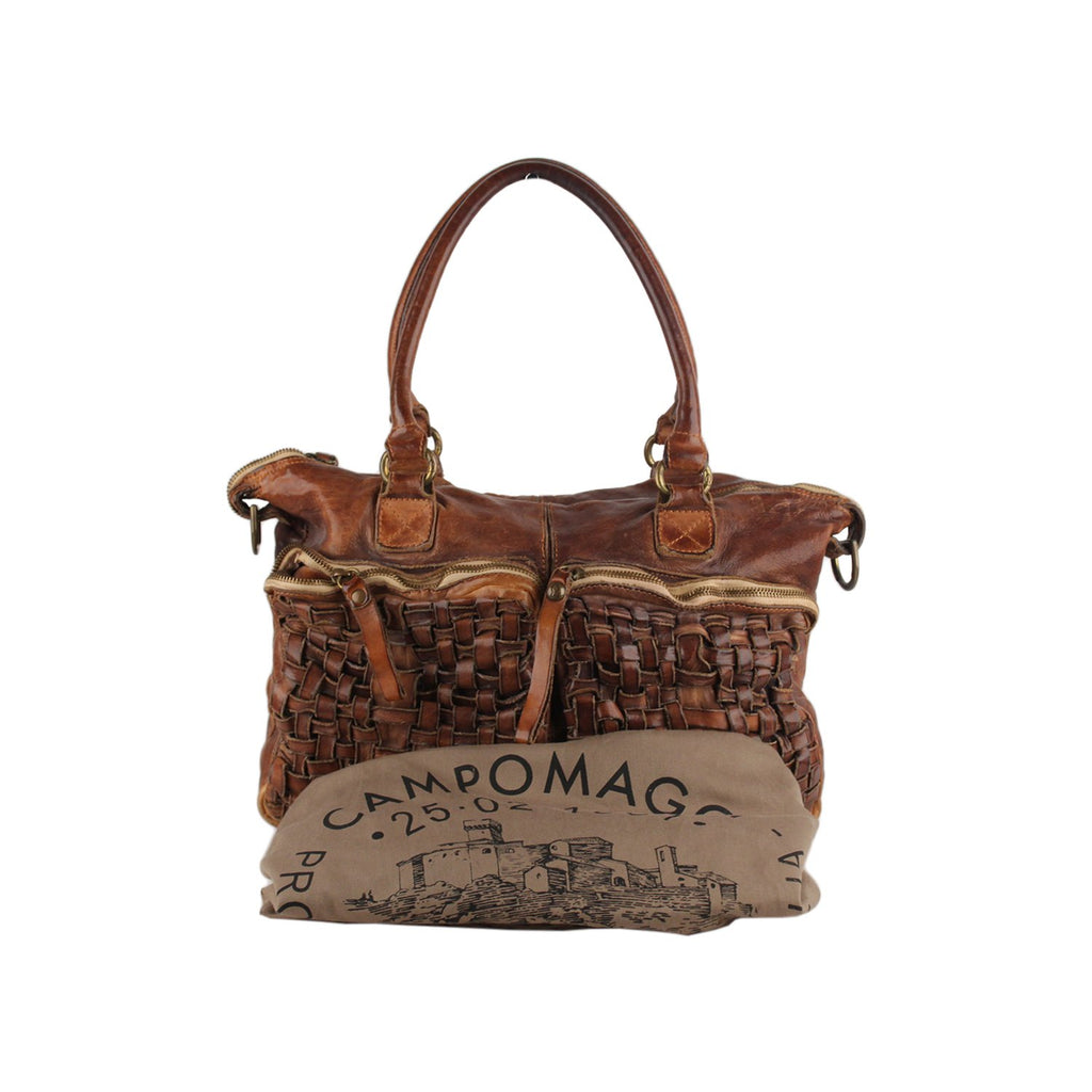 Campomaggi Satchel Bag with Woven Pockets