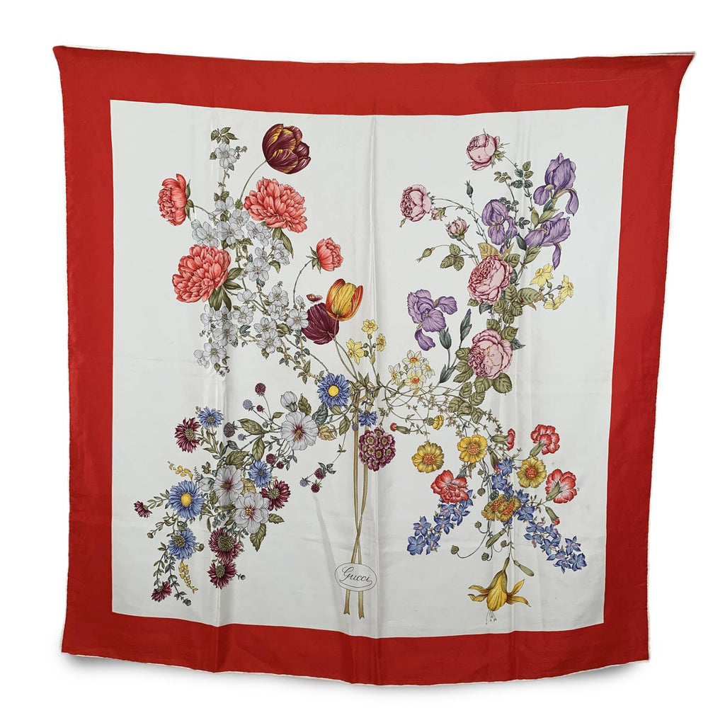 Gucci Floral Flowers Silk Scarf with Red Border