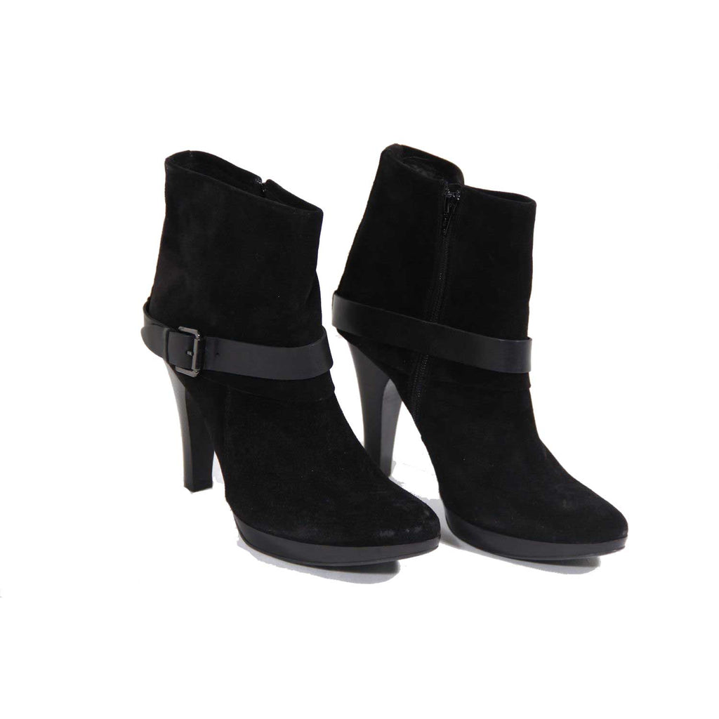 Marella Marella Italian Black Suede High Heels Ankle Boots Size 40 IT