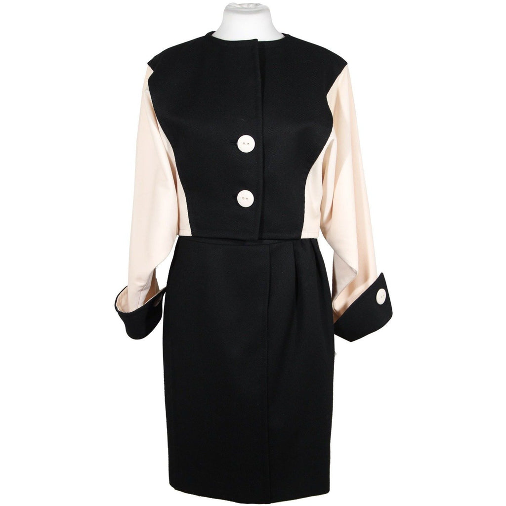 Vintage Suit Black White Jacket and Skirt Set