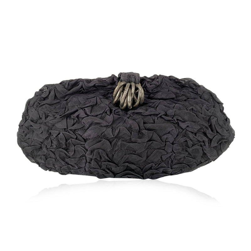 Rodo Black Ruched Fabric Clutch Bag