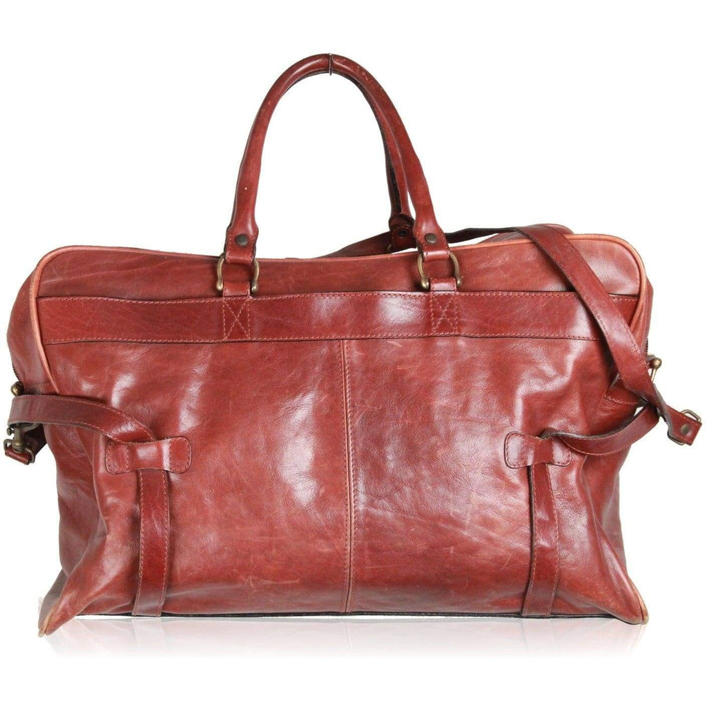Aldo Raffa Brown Leather Duffle Travel Bag Carry On Opherty & Ciocci
