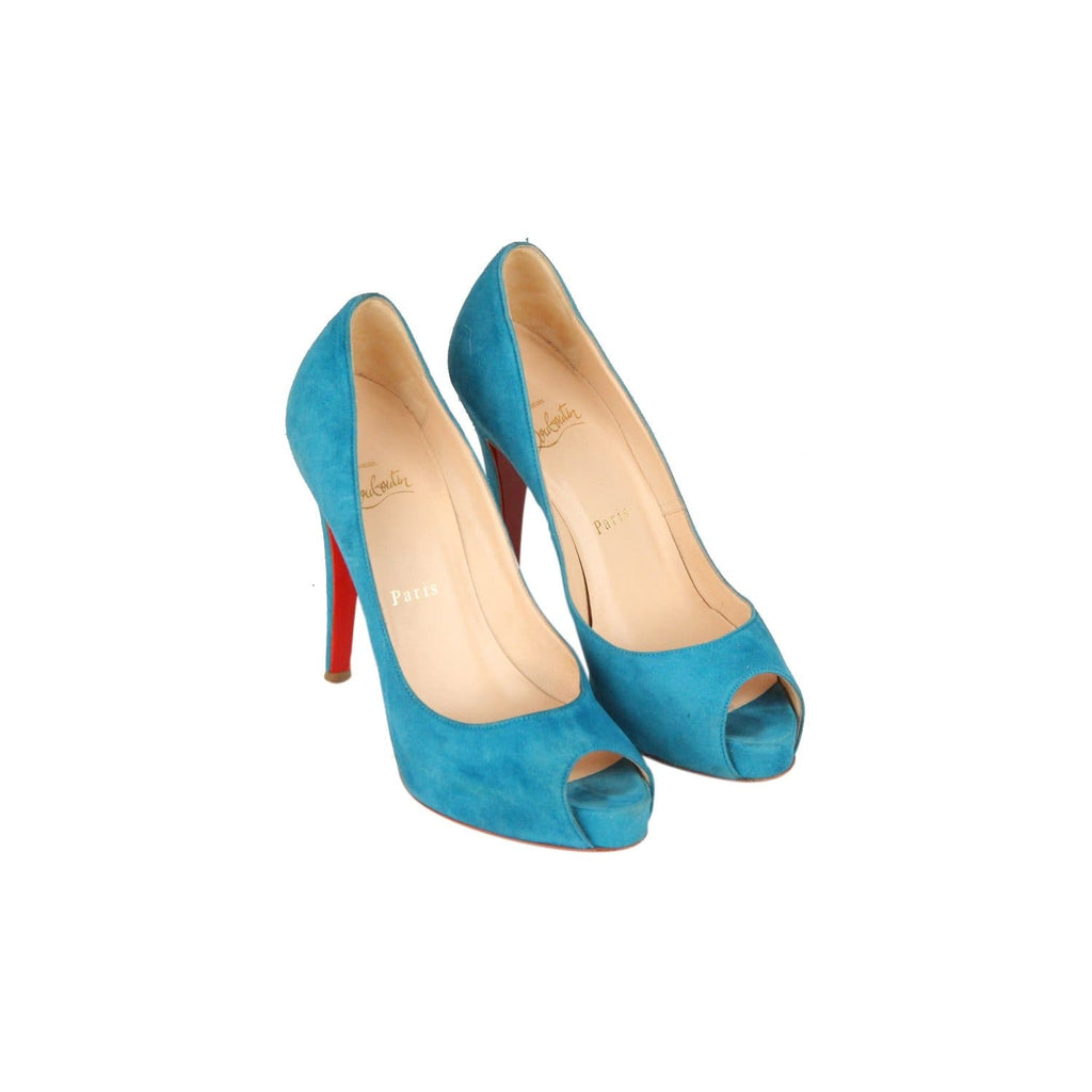 Christian Louboutin Turquoise Suede Open Toe Shoes Vendome120 Heels 36.5 Opherty & Ciocci