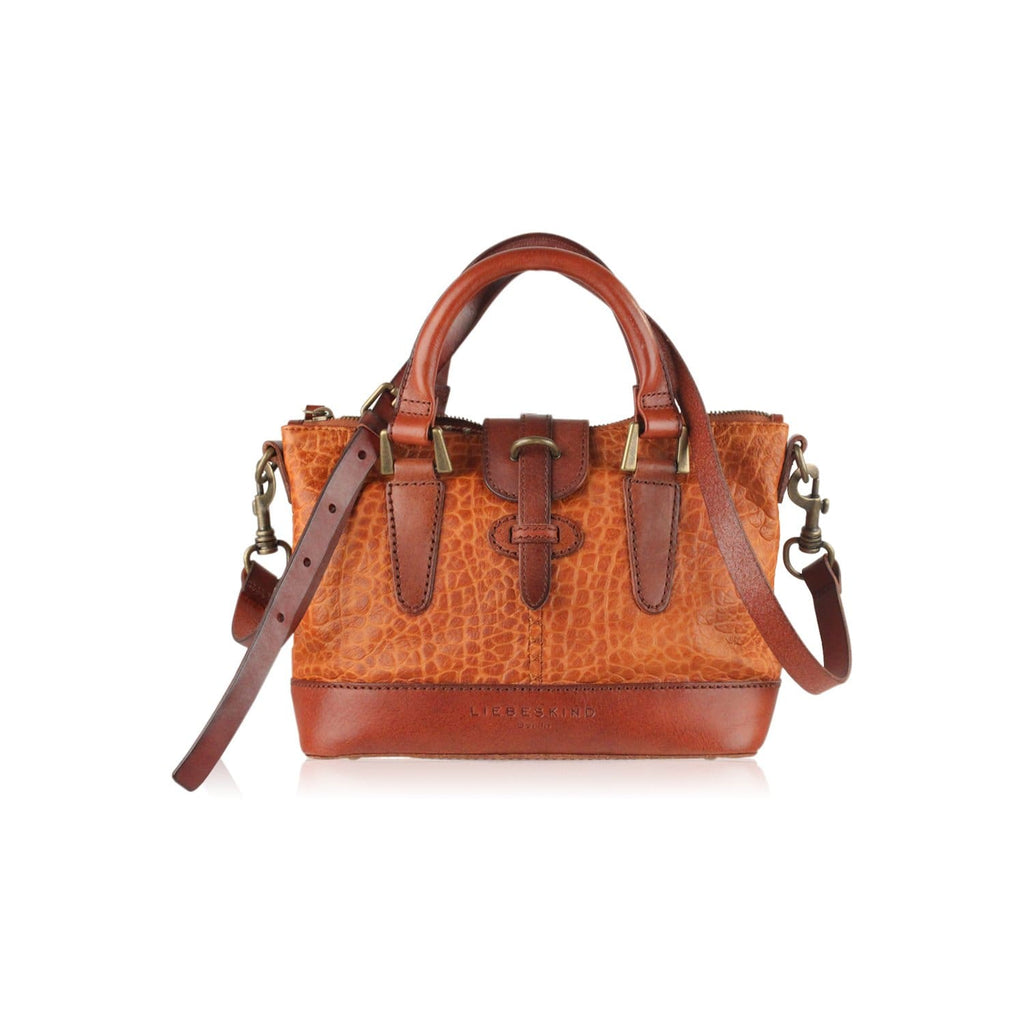 Embossed Tan Leather Satchel With Shoulder Strap Opherty & Ciocci