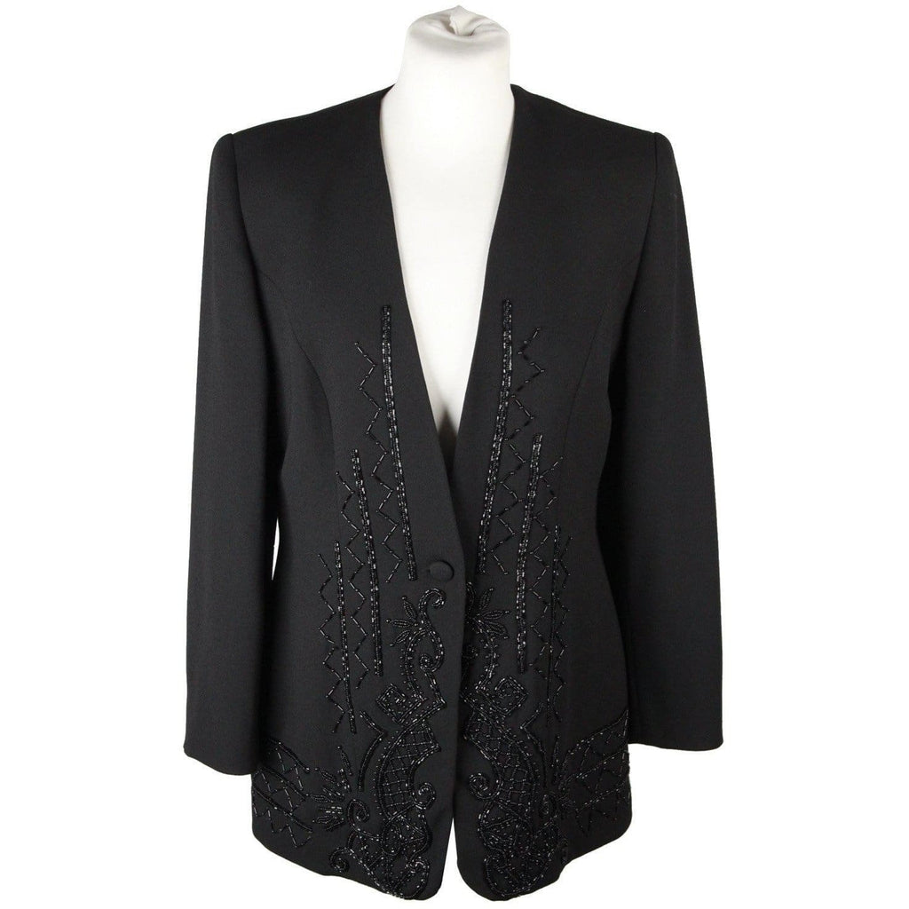 My Gallery Vintage Black Embellished Evening Jacket Beads Size 44 Opherty & Ciocci