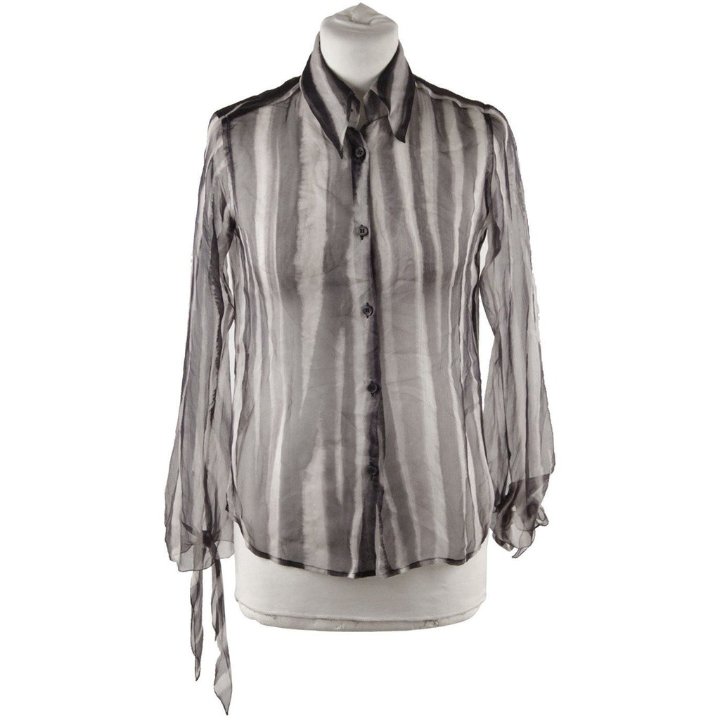 ROMEO GIGLI Striped Chiffon Silky BUTTON DOWN SHIRT Size 40