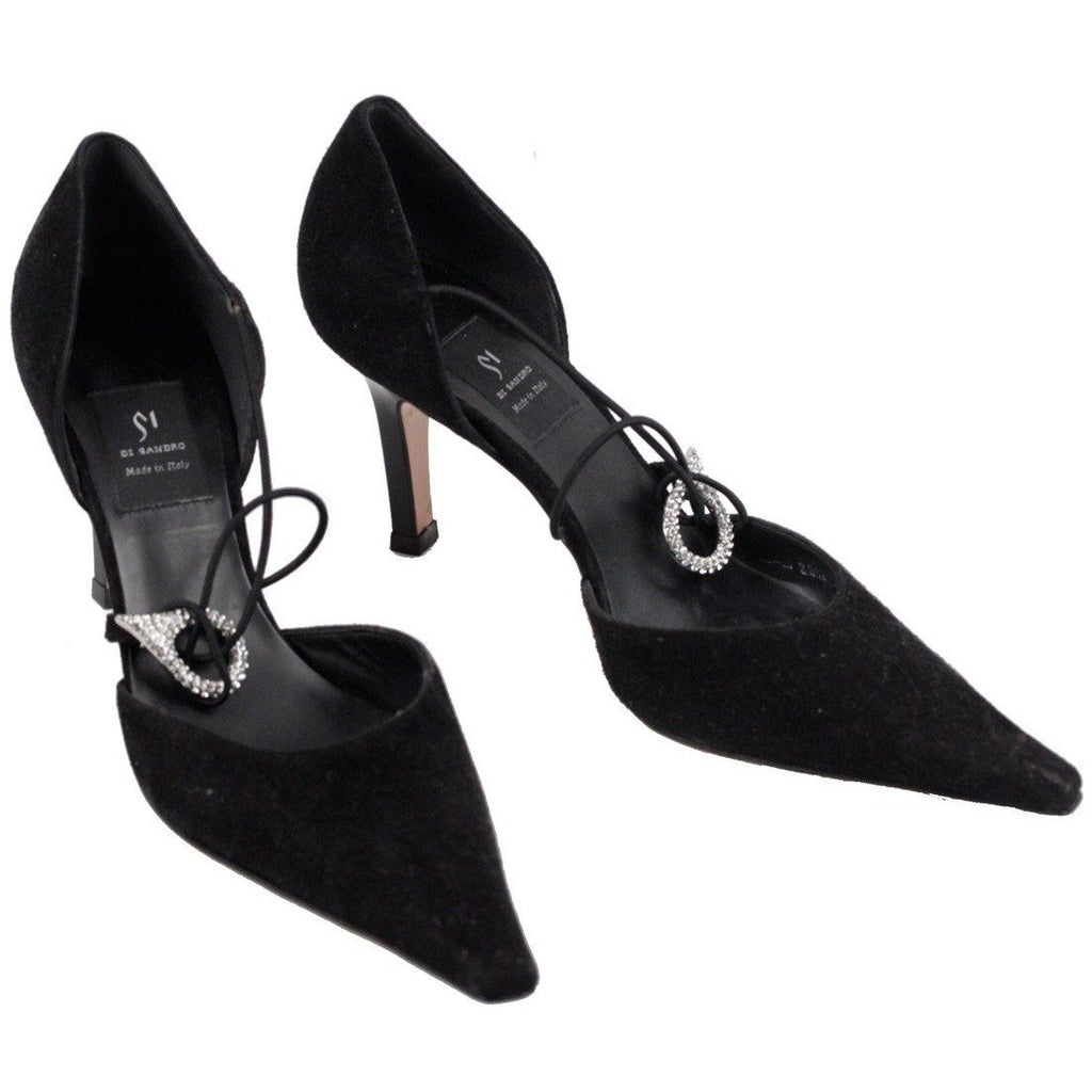 ZZ_DI SANDRO Black D'ORSAY PUMPS Heels SHOES w/ Crystal Buckle SIZE 36 1/2 EM - OPHERTYCIOCCI