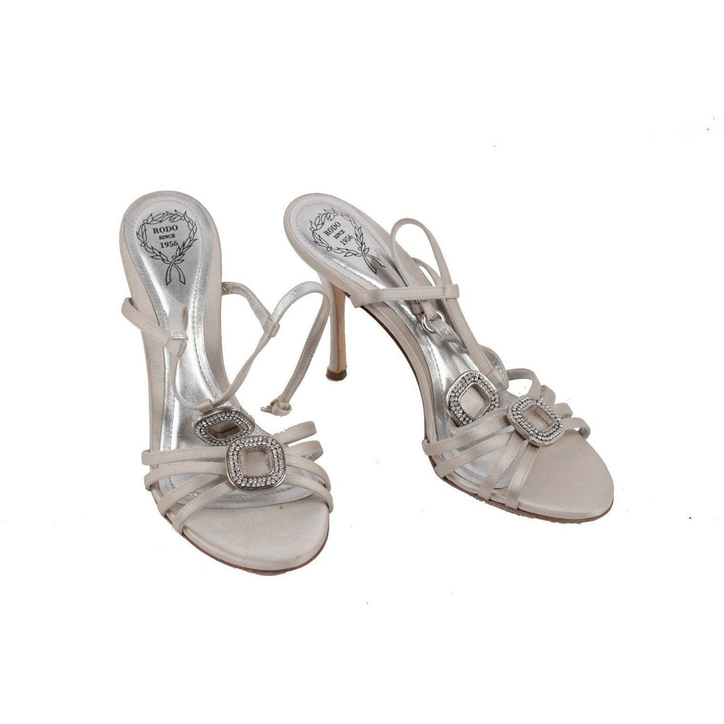 ZZ_RODO Gray Satin EMBELLISHED Sandals HEELS Pumps SHOES Size 37 EM - OPHERTYCIOCCI