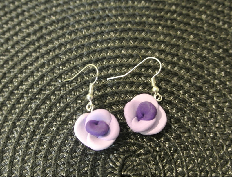Purple Polymer Clay Rose Fish Hook Earrings
