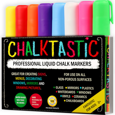 ChalkTastic Chalk Markers Best for Kids Art, Chalkboard Labels, Menu Board Bistro Boards, 8 Erasable Glass Window Markers, non-toxic Liquid Pens Reversible Chisel or Fine Tip, Neon Colors plus White - ChalkTastic.net