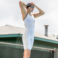 WHITE RIVAL OPENED BACK KNEESKIN | ELITE TECHNICAL RACING SUIT