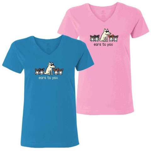 Ears To You - Ladies T-Shirt V-Neck - Teddy the Dog T-Shirts and Gifts