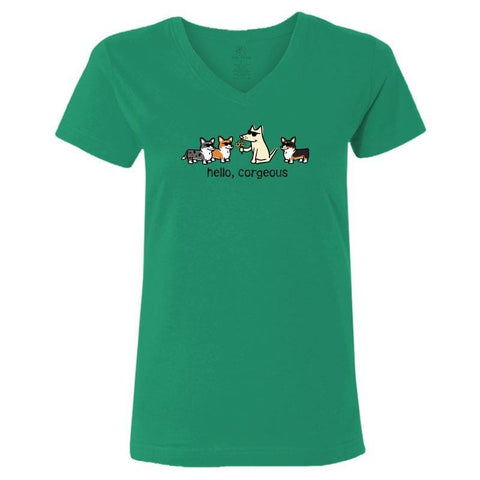Hello, Corgeous - Ladies T-Shirt V-Neck - Teddy the Dog T-Shirts and Gifts