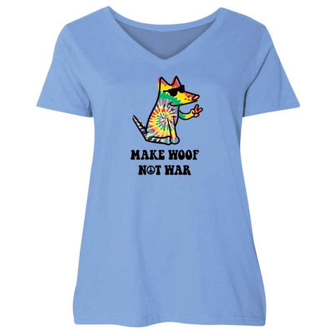 Make Woof, Not War - Ladies Curvy V-Neck Tee